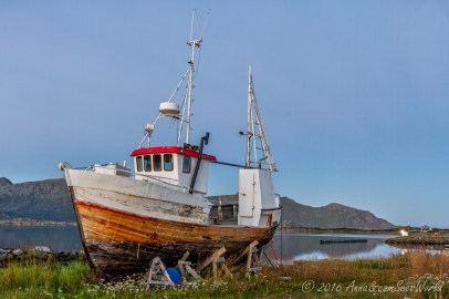 Fishing boat waiting to get back to see near Gravdal