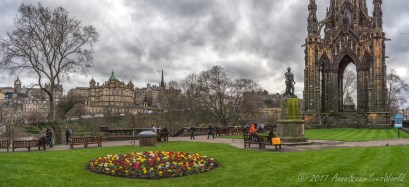 Princes Street Gardens East with Livingstone statue and Scott Monument