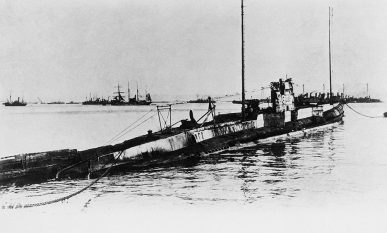 U Boat 139 which sank the Lusitania shown in an undated photo. Location unknown.