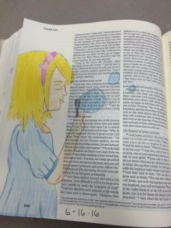 This picture was actually traced from a friend's drawing, but it is a child, and I made her blonde, because I imagine my daughter with blonde hair when she is little (we will see!) Mark 10:14