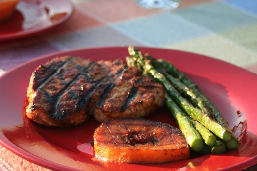 Friday's dinner. Pork chops, asparagus, and squash, done on the grill. SO GOOD. going from cafeteria food to gourmet food is like...EPIC.