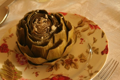 Dinner on Tuesday. Artichokes. O_O Havent had one of these since...like, since I was six. =P