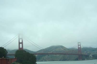 The Golden Gate bridge in the fog.