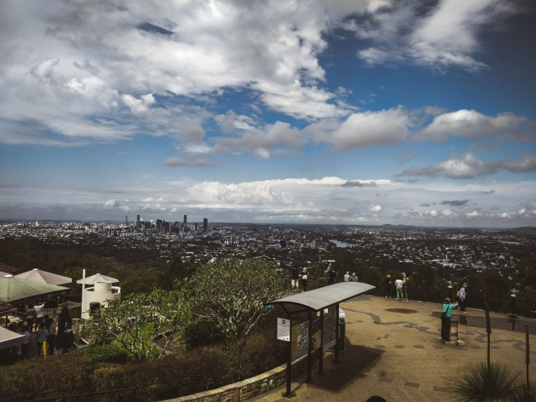 A panoramic view of Mount Coo-tha Brisbane overlooking the city of Brisbane