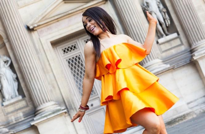 robe orange volante