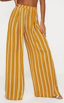 Pantalon ample rayures moutarde