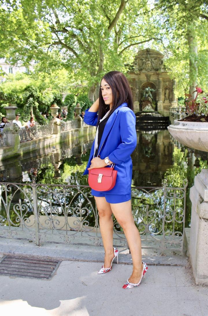tailleur short bleu
