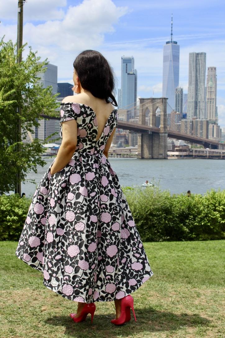 robe mi-longue style bardot