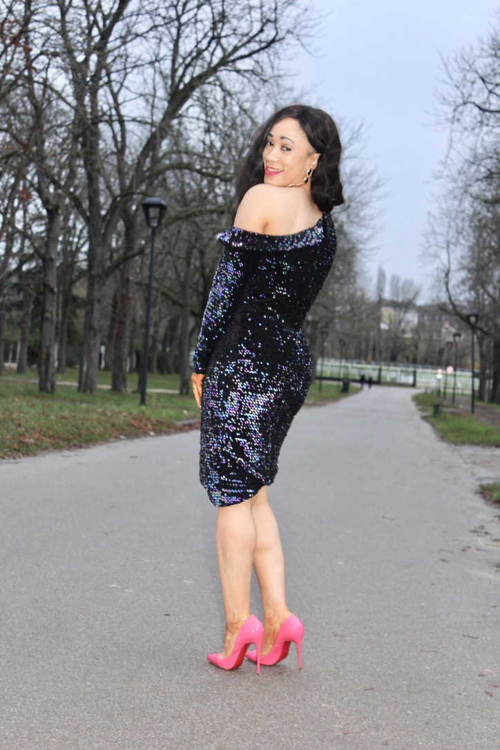 robe à sequins et louboutin so kate