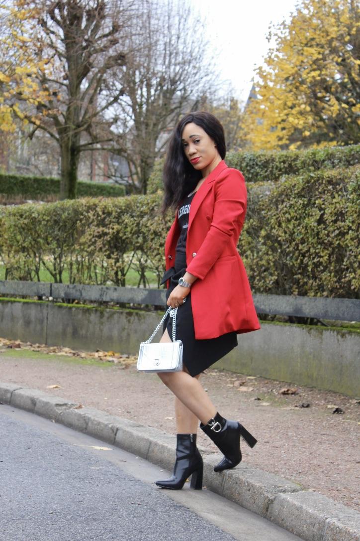 rock chic en blazer rouge