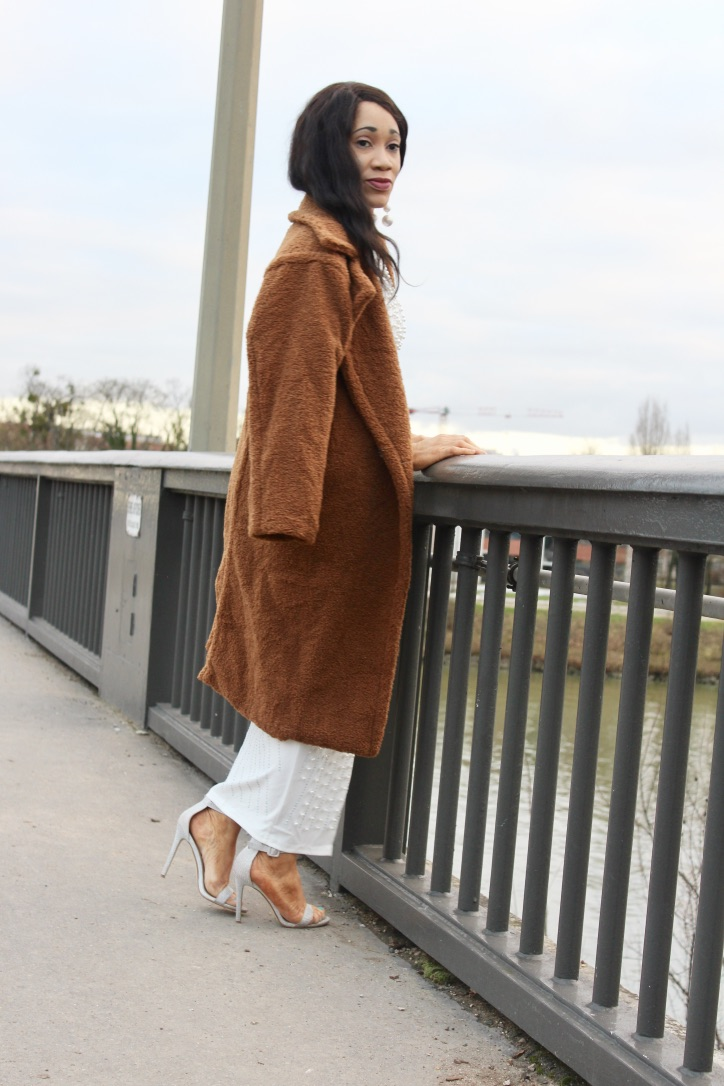 look chic manteau teddy bear