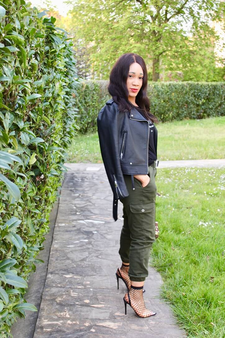 look pantalon cargo femme luxe