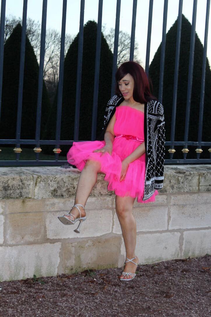 look de fêtes robe en tulle rose