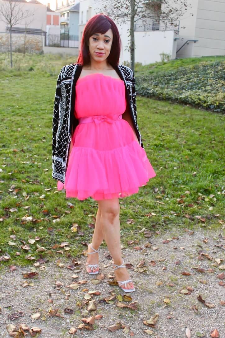 look robe en tulle à volants shein