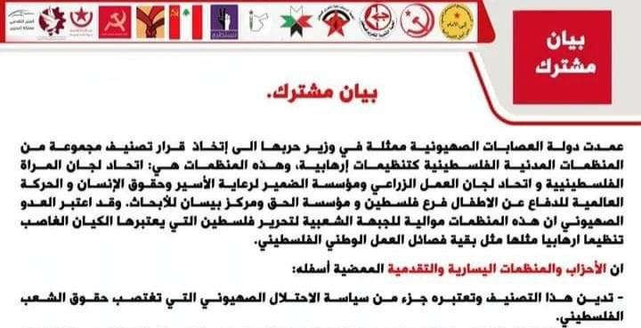 بيان مشترك لأحزاب عربية ضد قرارات الكيان الصهيوني
