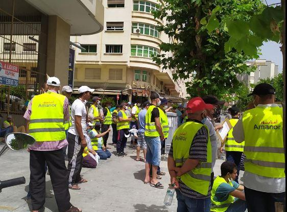 عمال شركة امانور ينظمون وقفة إحتجاجية أمام مقر ولاية طنجة