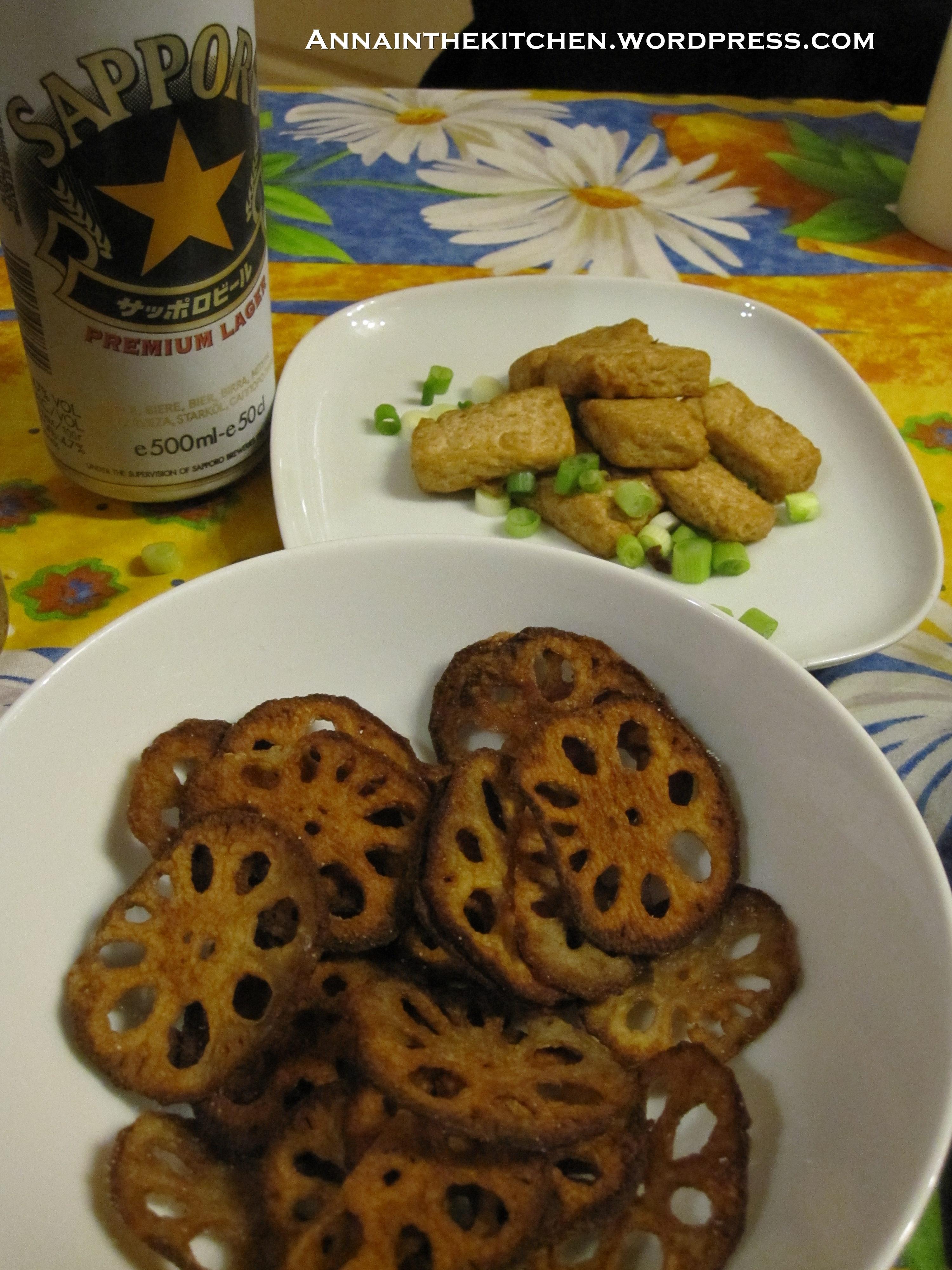 Renkon Chips, Deep Fried Tofu and Sapporo Beer