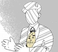 長谷川さんの立派なネクタイと顔が入れ替わったイラスト