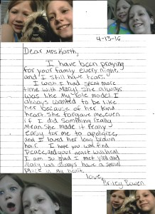 Letter from Briley in memory of Mary with photos