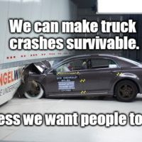 A real-life crash between a semi-trailer & 2 cars shows the life & death difference which underride makes.