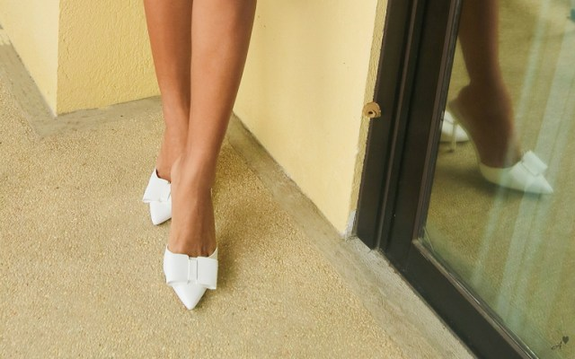 slip-on heels with bow