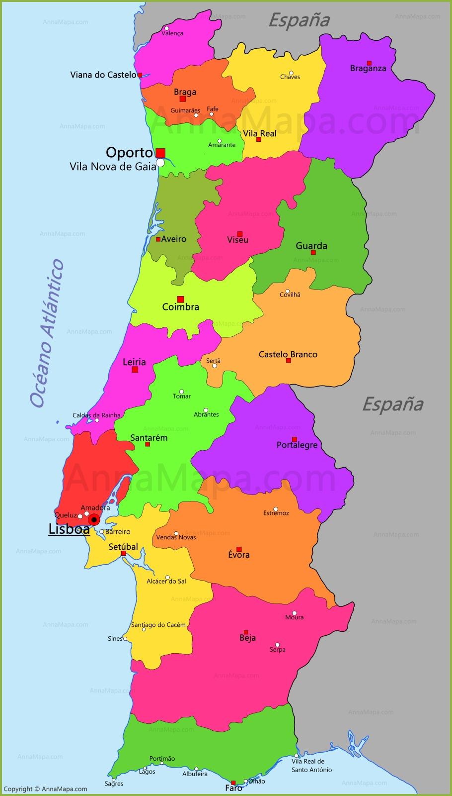 Resultado de imagen de portugal mapa