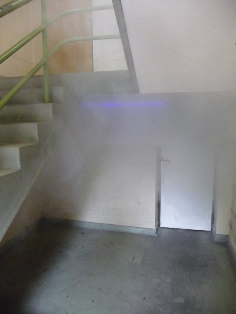 Indiscernability Installation image Smoke machine, Fluro light and polyprolene