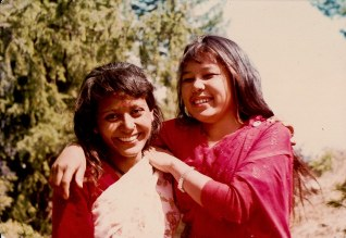 Anjana Gurung (right) and unidentified fellow artist with Chitwan Cultural Family, Humla, 1991.