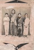Pakhrin family, 1970s. Khusiram, mother Sukantali, sister Bharati, unnamed neighbor girl.