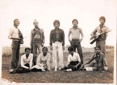 Hari Anjan, Sabitri GC, Shanti Thapa, Gokarna Thapa, and others in Chitwan Youth Club, c. 1982.