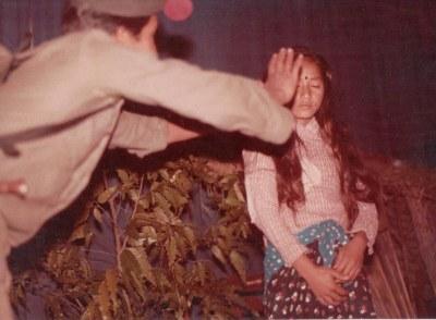 "Bire and Gita Pakhrin performing in opera ""Bhauju Ram Ram Chha,"" (Good wishes, sister-in-law) c. 1982."