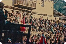 Crowd assembled in front of Barman Budha's house, Rolpa Thabang, 1992.