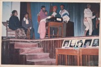 Student union cultural program in 1991 or 1992. Women: Chunu Gurung, Sharada Shrestha, Barsha Gajmer. Khusiram Pakhrin at harmonium.