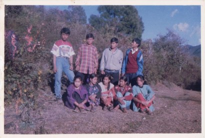 Sharada Shrestha (center, front) with artists in Makwanpur, 1995 or 1996.