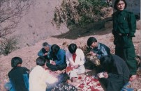 Members of Samana and Pratirodh in Rolpa Kholagau, getting ready to perform the opera Returning from the Battlefield in 2005. Artists including Kopila, Elina, Bhim, Bandana.