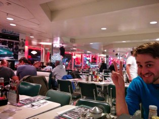 Our diner experience - and Mike getting in on the candid moment