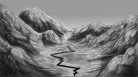 An attempt at drawing the geography of the valley and the abyss from the point of view of the town.
