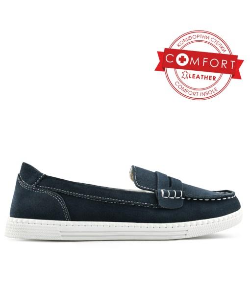 Дамски обувки естествена кожа 08-186-8 тип мокасина цвят син