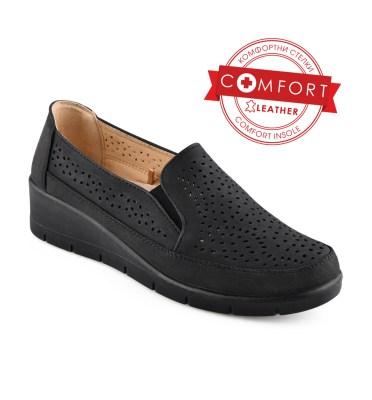 Дамски обувки 086-64 черни на дупки