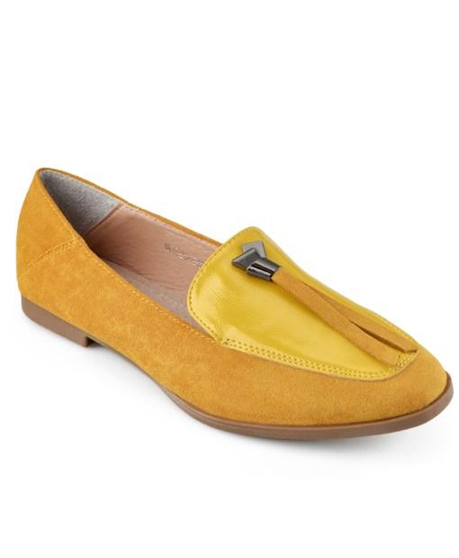 Дамски обувки 086-6 жълти с панделка