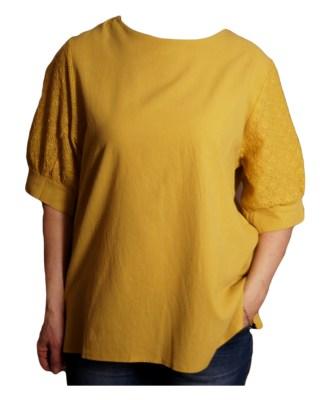 Дамска блуза XL 119-276-4 жълта с дантелен ръкав