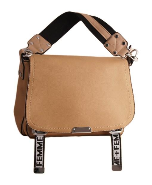 Дамска чанта 01-17-161-3 с текстилни ленти цвят червен