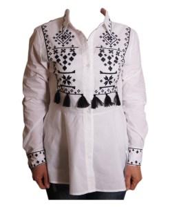 Дамска блуза 0019-581-1 бяло и синьо
