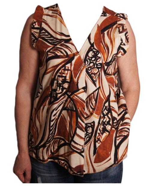 Дамска блуза 0019-573-2 в кафяви нюанси