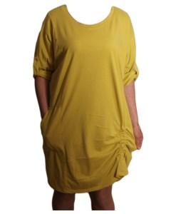 Дамска рокля XL 18-193-1 цвят горчица