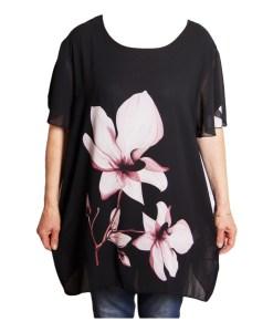 Дамска блуза XL 119-270-5 с две розови цветя
