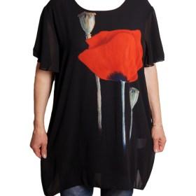 Дамска блуза XL 119-270-4 с червен мак