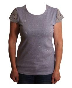 Дамска блуза 0019-570-2 цвят сив с плетено ръкавче