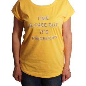 Дамска блуза 0019-570-62 цвят горчица с надписи