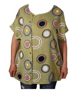 Дамска блуза XL 119-265-6 светло зелена с кръгове